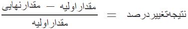 فرمول محاسبه تغییر درصد دو عدد